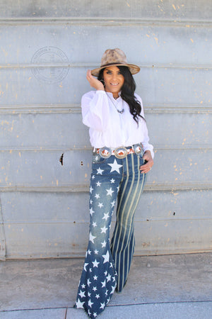 """Ole Party in the USA"" Stars & Stripes Printed Denim Bell Bottom Jeans"