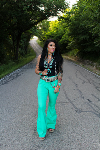 """Ole Righteous Gemstone"" Bright Turquoise Denim Flare Jeans"