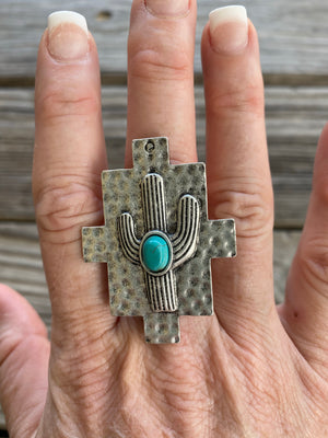 Turquoise Stone Cactus Pounded Silver Shield Ring