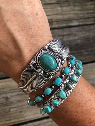 """The Bohemian Drifter"" ~ Turquoise & Silver Cuff Bracelet Set"