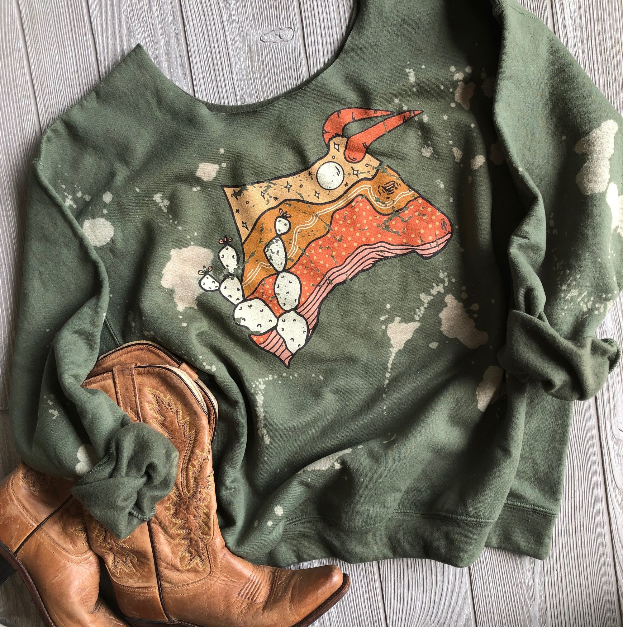 """Ole Steer It Up"" Desert Scene Bull Head Bleached Out Olive Sweatshirt"