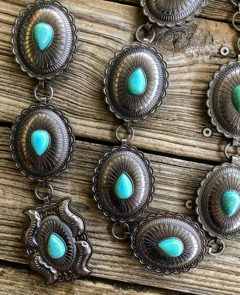 """Ole Head Concho"" Jumbo Etched Silver & Turquoise Concho Chain Belt"