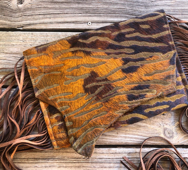 Whiskey Lee Designs Rusty Orange & Brown Tiger Cowhide Leather Fringe Over Sized Clutch Purse