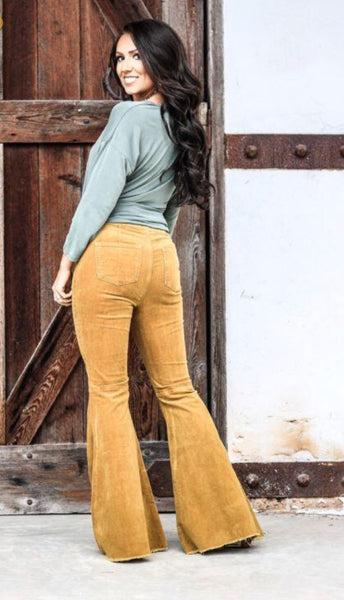 """Ole Gold Digger"" Golden Mustard Corduroy Bell Bottom Pants"