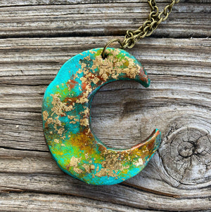 """Ole Over The Moon For You"" Sookie Sookie Hand Painted Clay Moon Necklaces"