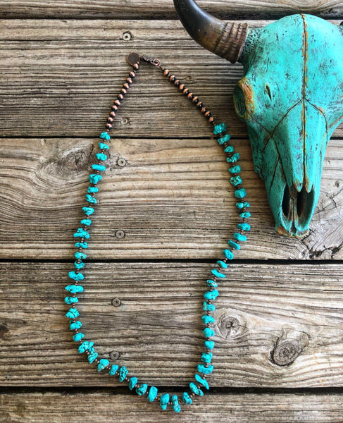 """Ole Saratoga"" Turquoise Chunk Copper Bead 36 Inch Long Strand Layering Necklace"