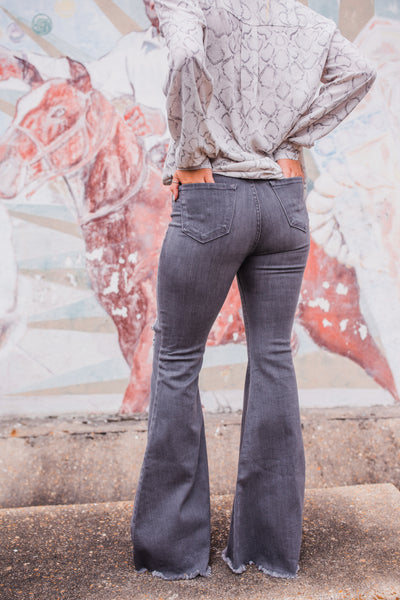 """Ole Mississippi Queen"" Distressed Denim Bell Bottom Flare Jeans ~ GREY Denim"