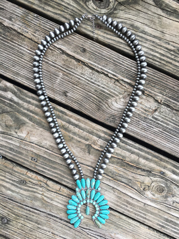 """The Bravado"" Turquoise & Navajo Pearl  Squash Blossom Necklace"