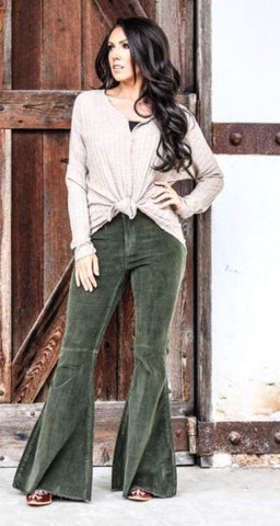 """She's Olive That"" Olive Green Corduroy Bell Bottom Pants"