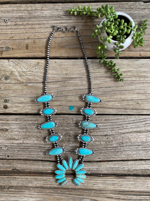 """Ole Claudelle"" Turquoise & Navajo Pearl Squash Blossom Necklace"