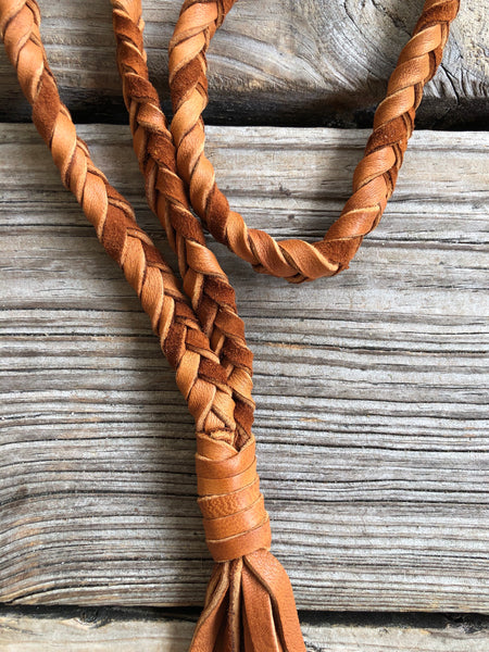 """Ole Yukon"" Braided Deerskin Leather Tassel Necklace"