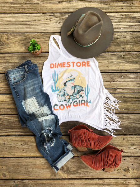 """Ole Dimestore Cowgirl"" ~ Vintage Graphic Tee with Side Fringe"