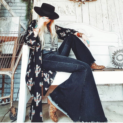 Keep on Truckin' ~ Denim Frayed Bell Bottom Jeans ~ Black Denim