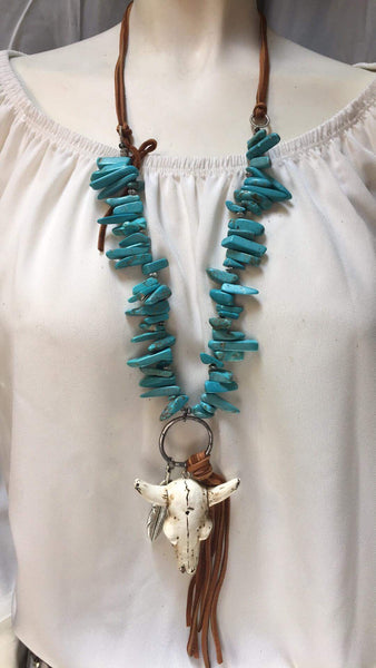 """Ole La Grange"" Turquoise & Leather Bull Skull Tassel Necklace"