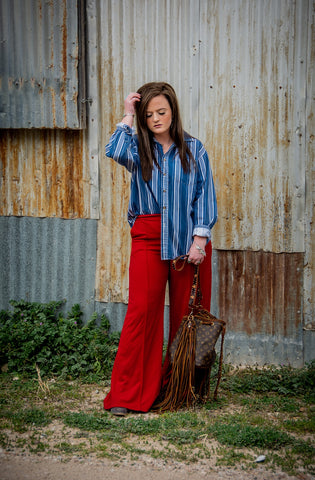 """Ole Cherry Bomb"" Red Wide Leg Bell Bottom Pants"