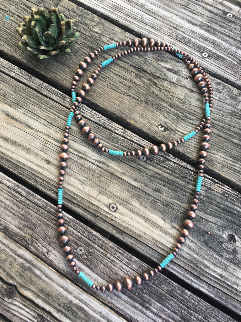 Ralphie Copper Surge Plate & Turquoise Wrap Necklace