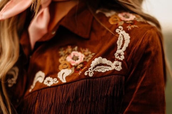 """Ole Winchester"" Embroidered Floral & Fringe Suede Button Up Vintage Inspired Western Shirt"
