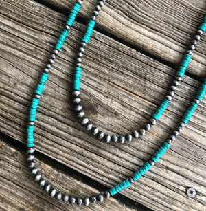 """Ole Rio Grande"" Navajo Pearl & Heishi Turquoise Double Strand Layering Necklace"