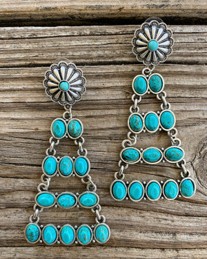 """Ole Rita"" Turquoise Stone & Silver Concho Chandelier Earrings"