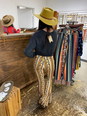"""Ole Marigold Round"" Bohemian Floral Striped Bell Bottoms"