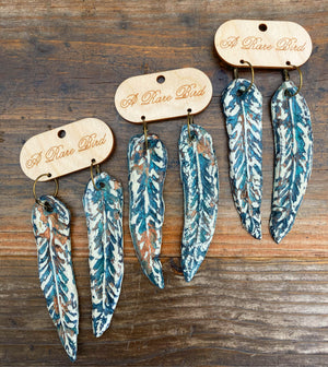 """Ole Flock To Feather"" Turquoise Stone & Copper Hand Carved Feather Earrings"