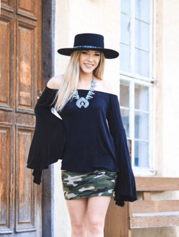 """Ole Black Wings"" Off The Shoulder Bell Sleeve Top"