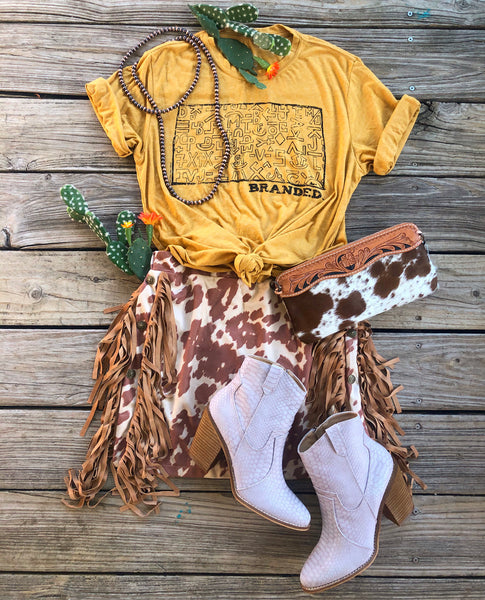 """Ole Cattle Call Mini"" Cow Puncher Print Studded Suede Mini Skirt w/ Side Fringe"