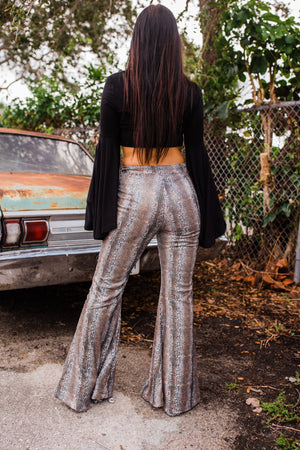 """Ole Come Slither"" Sequin SNAKESKIN Print Bell Bottom Pants"
