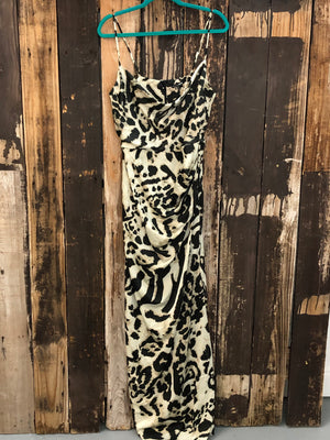 Ivory And Black Satin Animal Print Maxi Dress ~ Size XL/1XL ~ Queen Bee's Closet