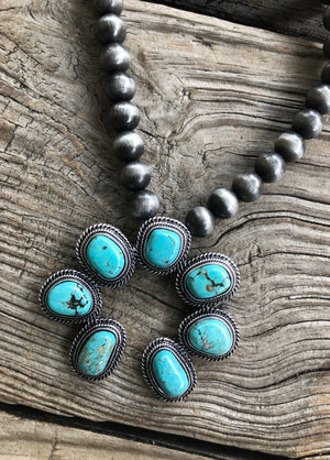 """Ole Donovan"" Turquoise & 10mm Navajo Pearl Squash Blossom Pendant Necklace"
