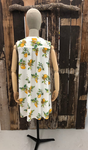 Sleeveless White Lemon Print Shirt Dress ~ Size X Large ~ Queens Bee's Closet