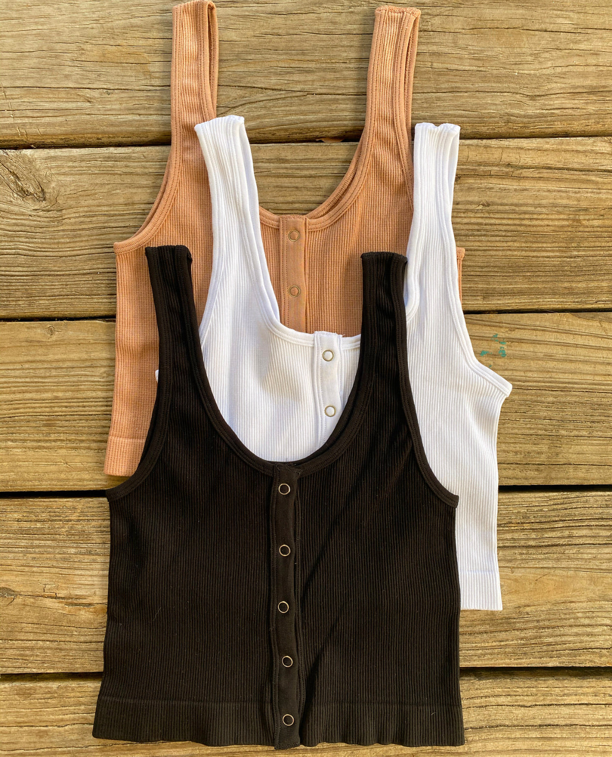 """Ole Drop Top"" Ribbed Body Shaping Layering Snap Up Front Cropped Tank Top"