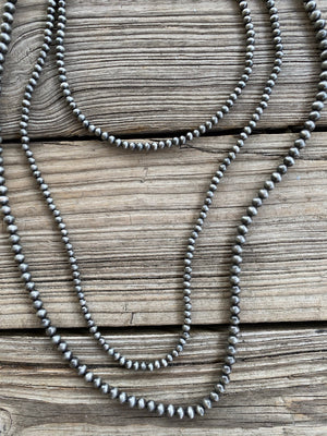 Navajo Pearl Triple Strand Bib Style 50 inch Necklace ~ 6mm & 8mm