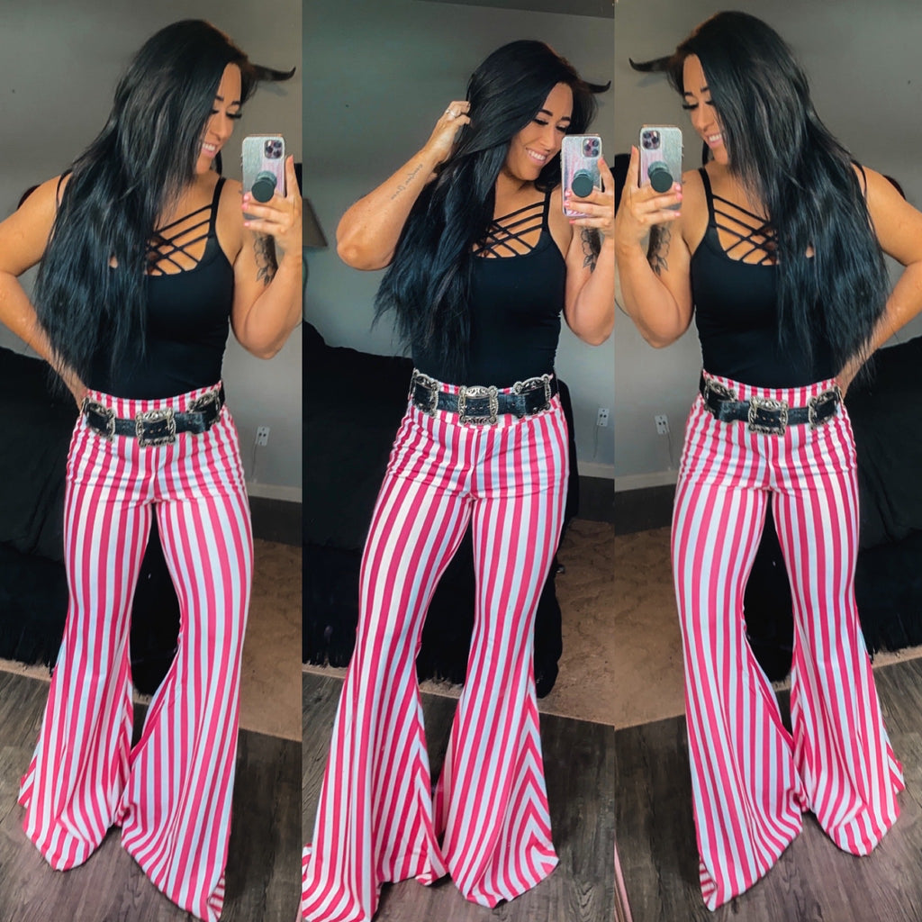 """Ole Candy Striper"" Hot Pink & White Stripe Bell Bottom Pants ~ FINAL SALE"