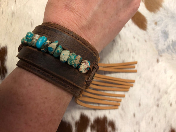 """Ole Nevada Sun"" Distressed Brown & Black Leather Cuff with Turquoise Stones & Fringe"