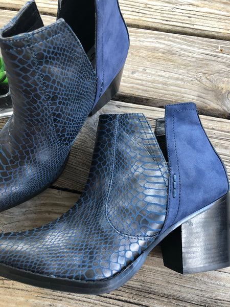 Not Rated Navy Blue Snakeskin Tarim V Cut Side Bootie