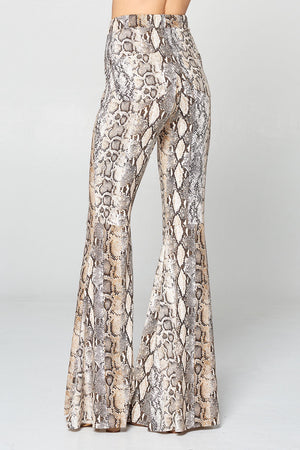 """Ole Desert Plains"" Sandy Brown & Grey Python Snakeskin Print Bell Bottoms"