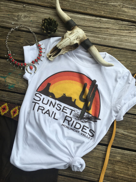 Sunset Trail Rides Vintage Style Graphic Tee