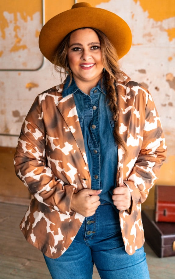 """Ole Farmers Daughter"" Buffalo Nickel Button Cow Puncher Print Blazer"