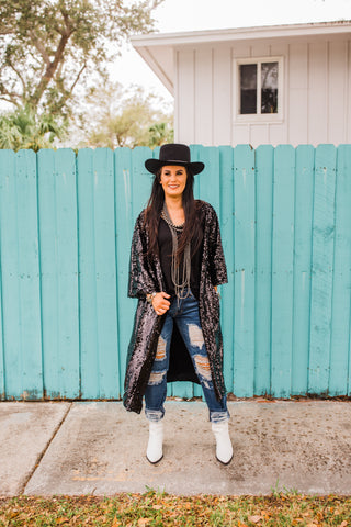 """Ole Black Magic Woman"" Jumbo Black Sequin Duster Cardigan"