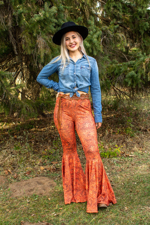 """Ole Toolin' Around"" Rusty Orange Tooled Leather Floral Print Bell Bottom Flares"