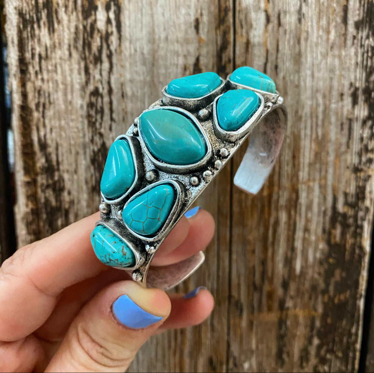 """Ole Tinkertown"" Turquoise & Silver Cuff Bracelet"