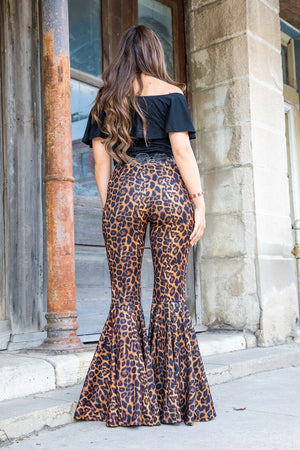 """Ole Juke Box Hero"" Leopard Print Ruffle Bell Bottom Pants"