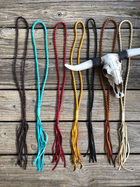 """Ole Deadwood"" Braided Buckskin Leather Tassel Necklaces"