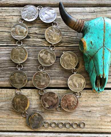 """Ole Liberty"" Jumbo Buffalo Indian Head Nickle Coin Chain Belt"