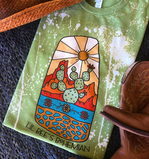 """Ole Corner of Winslow"" Canyon Cactus Scene Graphic Tee (made 2 order)"