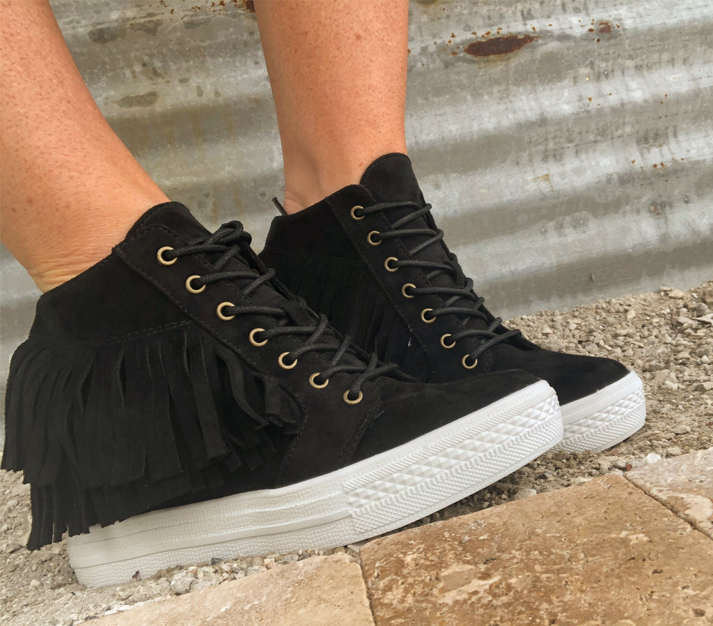 Not Rated BLACK Suede Fringe Hi Top Hidden Wedge Tennis Shoes