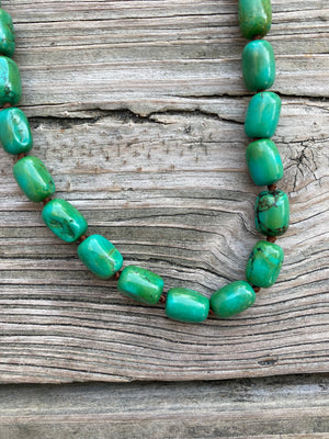 """Ole Bam Bam"" Green Turquoise Barrel Stone Choker Necklace"