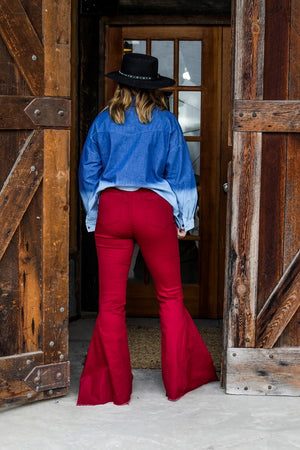 """Ole Shake Down Street"" High Elastic Waist Bell Bottom Jeans Ruby Red ~ NO DISTRESSING"