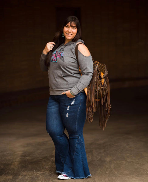 """Ole Highway Queen"" Distressed Dark Blue Denim Bell Bottom Jeans"
